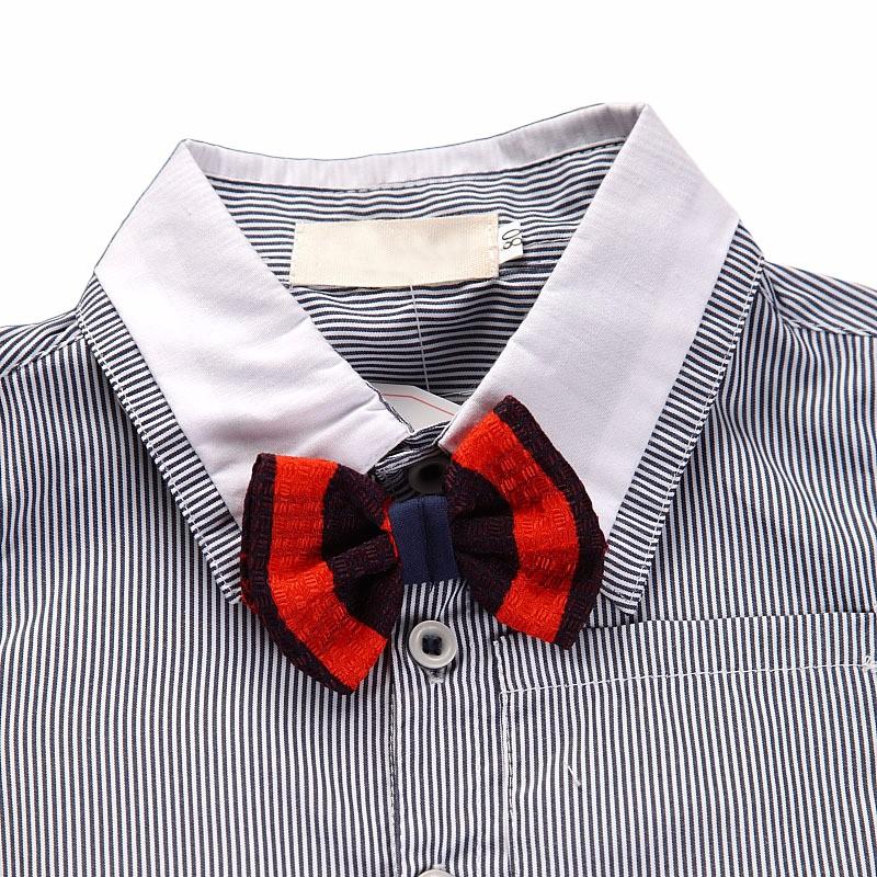 Baby Toddler Boy Little Gentlemen bow tie striped button down front shirt Shortalls set toddler boy party wedding birthday suit 4