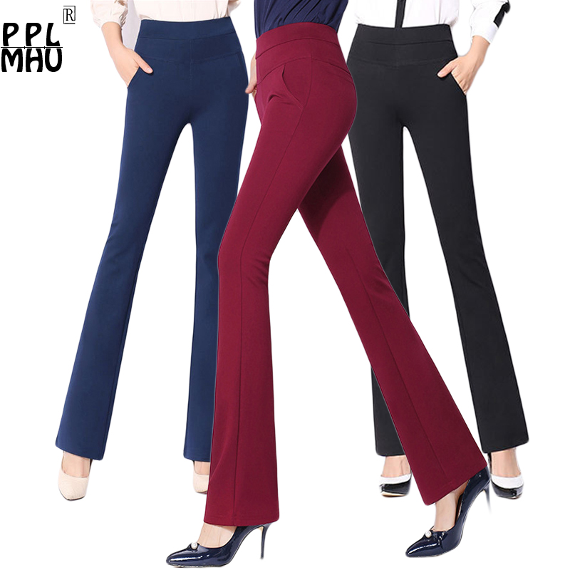 Mom's Plus Size 4XL Office OL Work Pants Women Fashion Streetwear Bell Bottom Pants Femal Korean Stretch Pencil Flared Pants