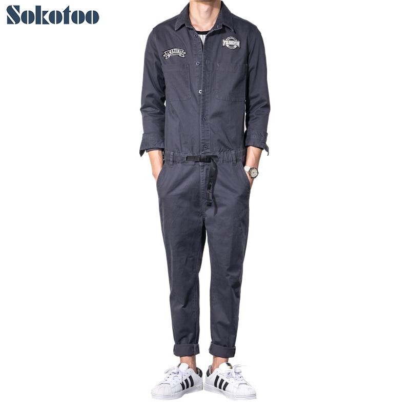 Sokotoo Men's dark gray long sleeve slim jumpsuits Casual elastic waist patches design jeans overalls set