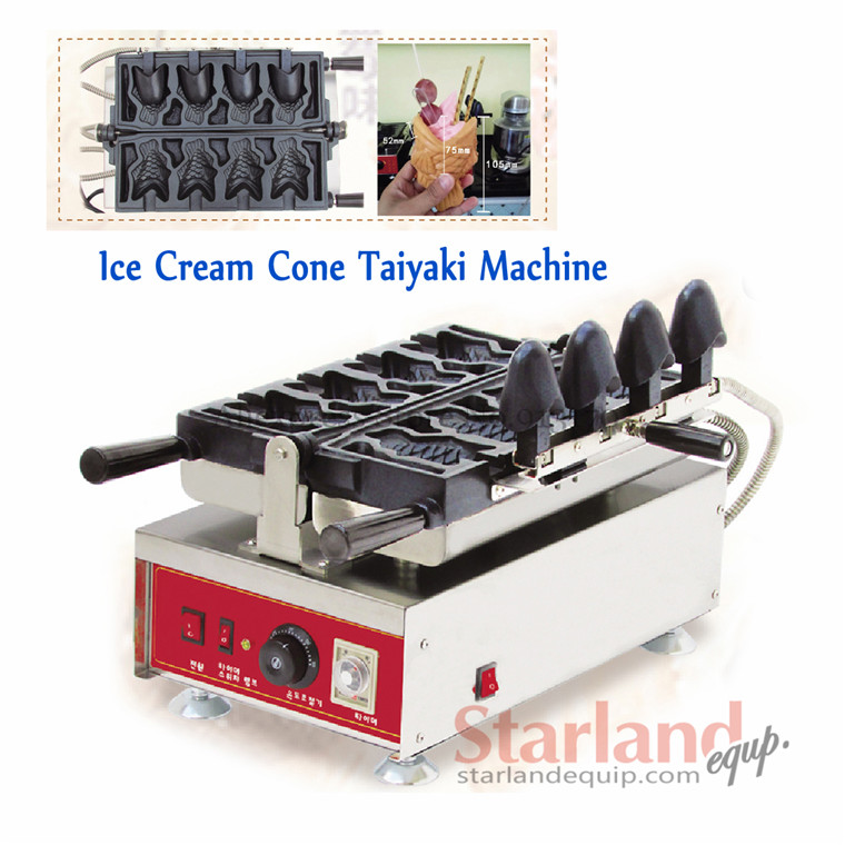 Taiyaki ice cream waffle machine commercial open-mouth fish shaped maker stainless steel with 4 pcs mould cone maker 110/220v taiyaki maker with ice cream filling taiyaki machine for sale ice cream filling to fish shaped cake fish cake maker
