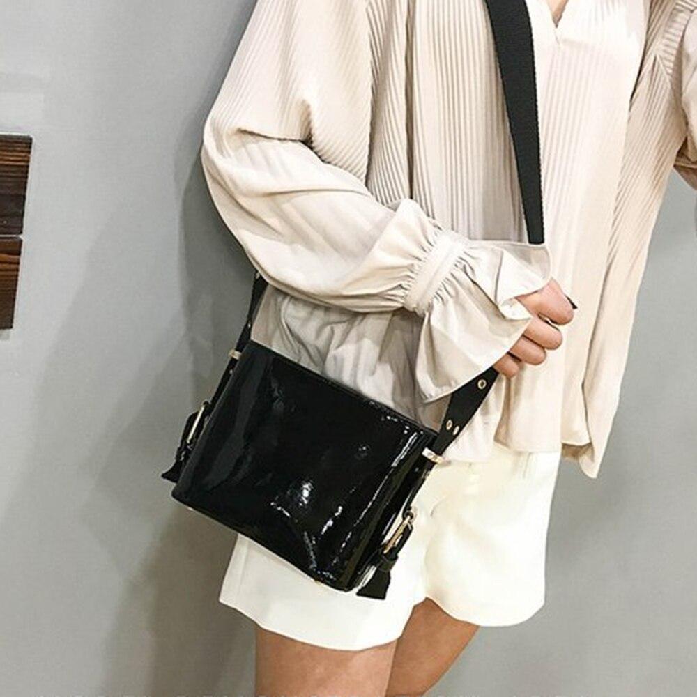 2018 Women Girl Fashion Patent Leather Bucket Messenger Bags Crossbody Bag Casual Shoulder Bag Strap Bucket Bag