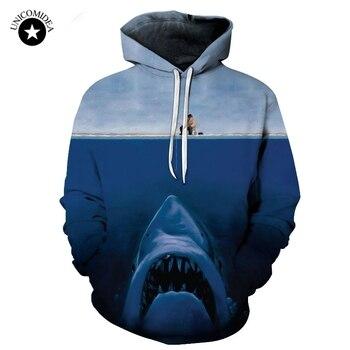 2019 Homens Tubarão 3d Impressão Hoodies das Camisolas Com Capuz Engraçado Pescador & Shark 6XL Pulôveres de Manga Longa Plus Size Tops dropshipping