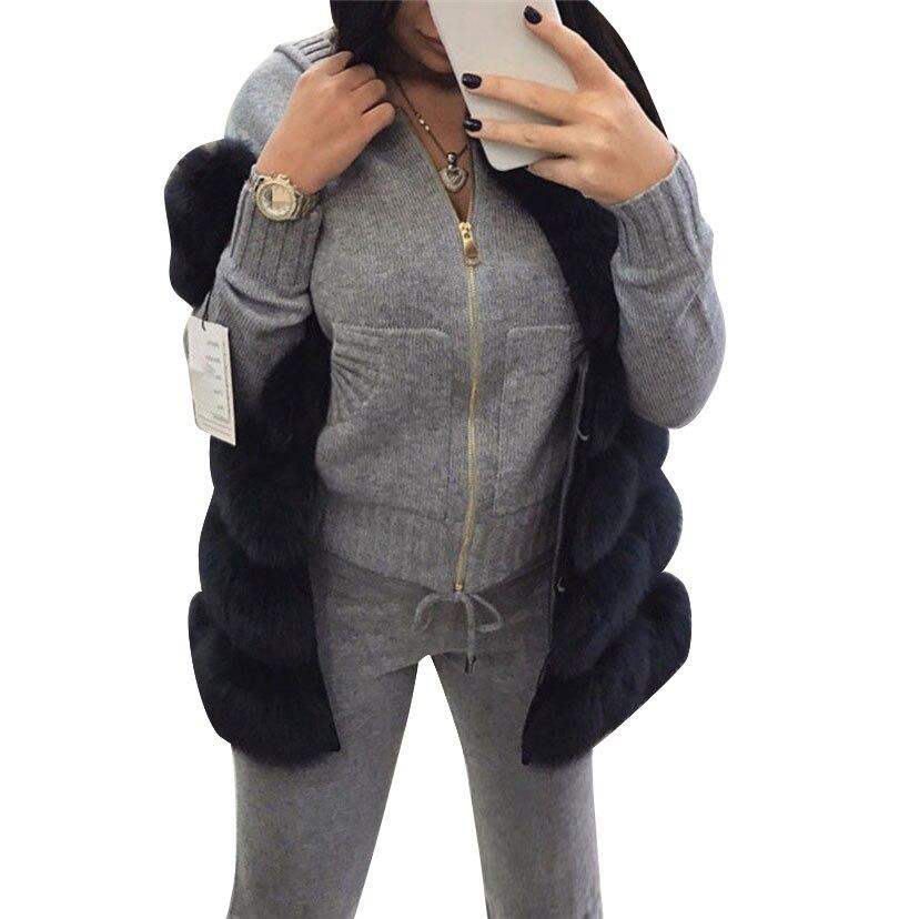 MVGIRLRU laine tricoté costume d'hiver chaud costume pour les femmes zipper cardigan à capuche avec pantalon deux pièces ensemble femme survêtement
