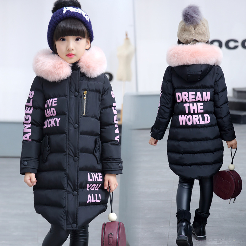 Winter warm long duck down jackets for girls teenager kids black long coat fur hood cap parka teenage 6 8 9 10 11 12 14  years