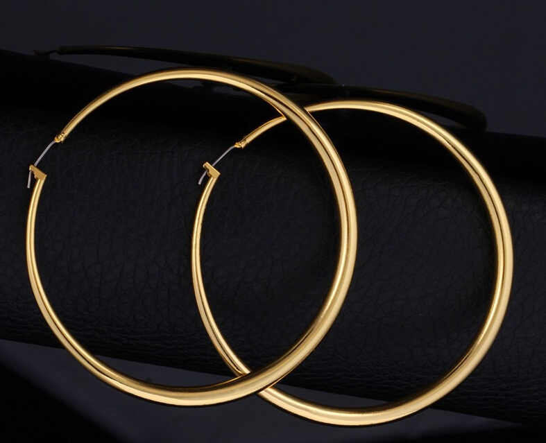 Hot 18k Real Gold Plated Elegant Larger Size Women Hoop Earrings Fashion Costume Jewelry Free Shipping In From