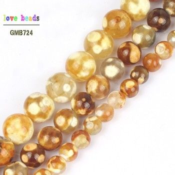 Natural Yellow Ice Craked Agat Round Loose Stone Beads for Jewelry Making DIY Bracelets 15'' 6mm 8mm 10mm image