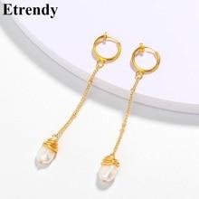 Simple Long Earrings For Women 2019 New Baroque Pearl Earrings Handmade Trendy Jewelry All Match цена