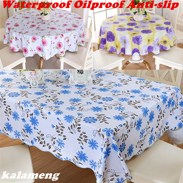 Wipe Clean Round Pvc Vinyl Tablecloth Dining Kitchen Table Cover Protector Oilcloth Fabric Cr