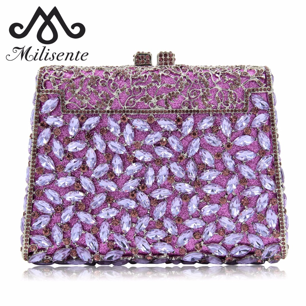 Milisente Women Bag Wedding Clutch Bags Luxury Crystal Diamonds Party Clutches Fashion Purple Stones Purse free shipping a15 16 red color fashion top crystal stones ring clutches bags for ladies nice party bag
