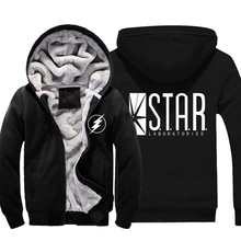 Mens Casual 2016 The Flash Star Laboratories Logo Hoodies Zip up Winter Super Warm Fleece Sweatshirts