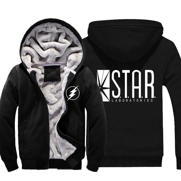 2017 flash s.t.a.r. Звезда лабораторий логотип Толстовки на молнии мужские Повседневное с капюшоном зимние супер теплые флисовые кофты