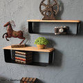 Stained Vintage Display Wood and Metal Wall Shelf