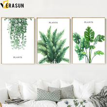 Watercolor Green Plants Leaves Wall Art Canvas Painting Nordic Posters And Prints Nature Pictures For Living Room Decor