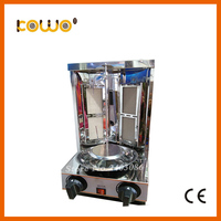 commercial table counter top stainless steel kitchen appliance lpg gas chicken meat shawarma grill machine with 2 burner