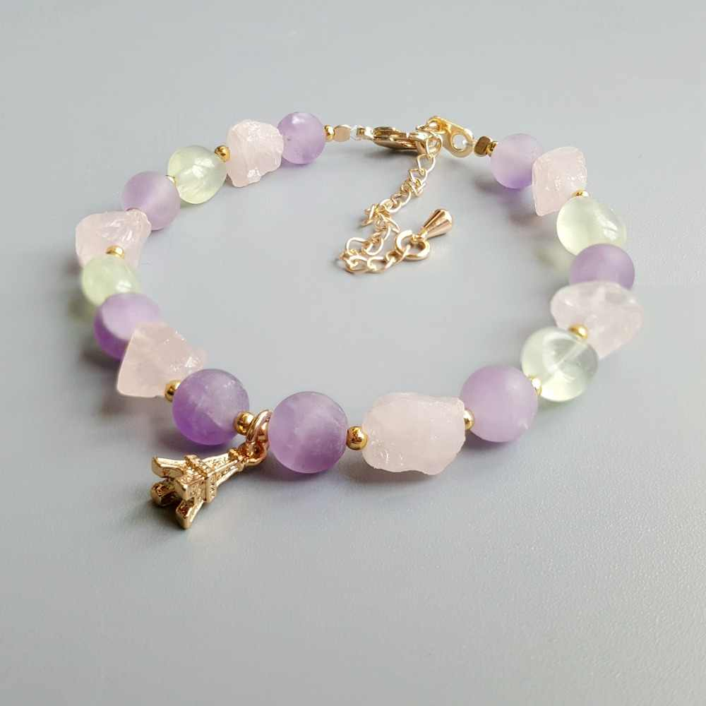 Lii Ji Real Light Amethyst Prehnite Rose Quartz Natural Stone Bracelet Iron Tower Charm Delicate Jewelry For Child or Women