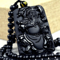 Fashion Black Obsidian Pendant Natural Hand-carved Obsidian Necklace Fine Jade Statues Jewelry For Women Men