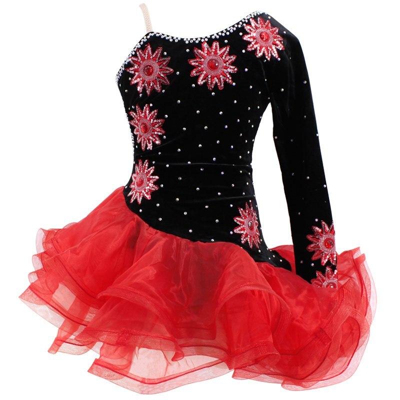 Discount Kids Latin Dresses Velvet One Sleeve Ballroom Dance Costumes Vestidos Latino Dance Girls