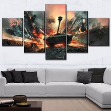 Modular Wall Art Picture Decorative Framework 5 Piece Game  War Thunder Tank Poster Painting For Bedroom Canvas HD Print
