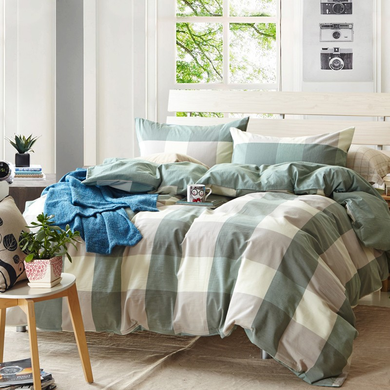 japan korean style green big check plaid 100 water washed cotton 3pcs4pcs fitted sheet cover bedding setb3819