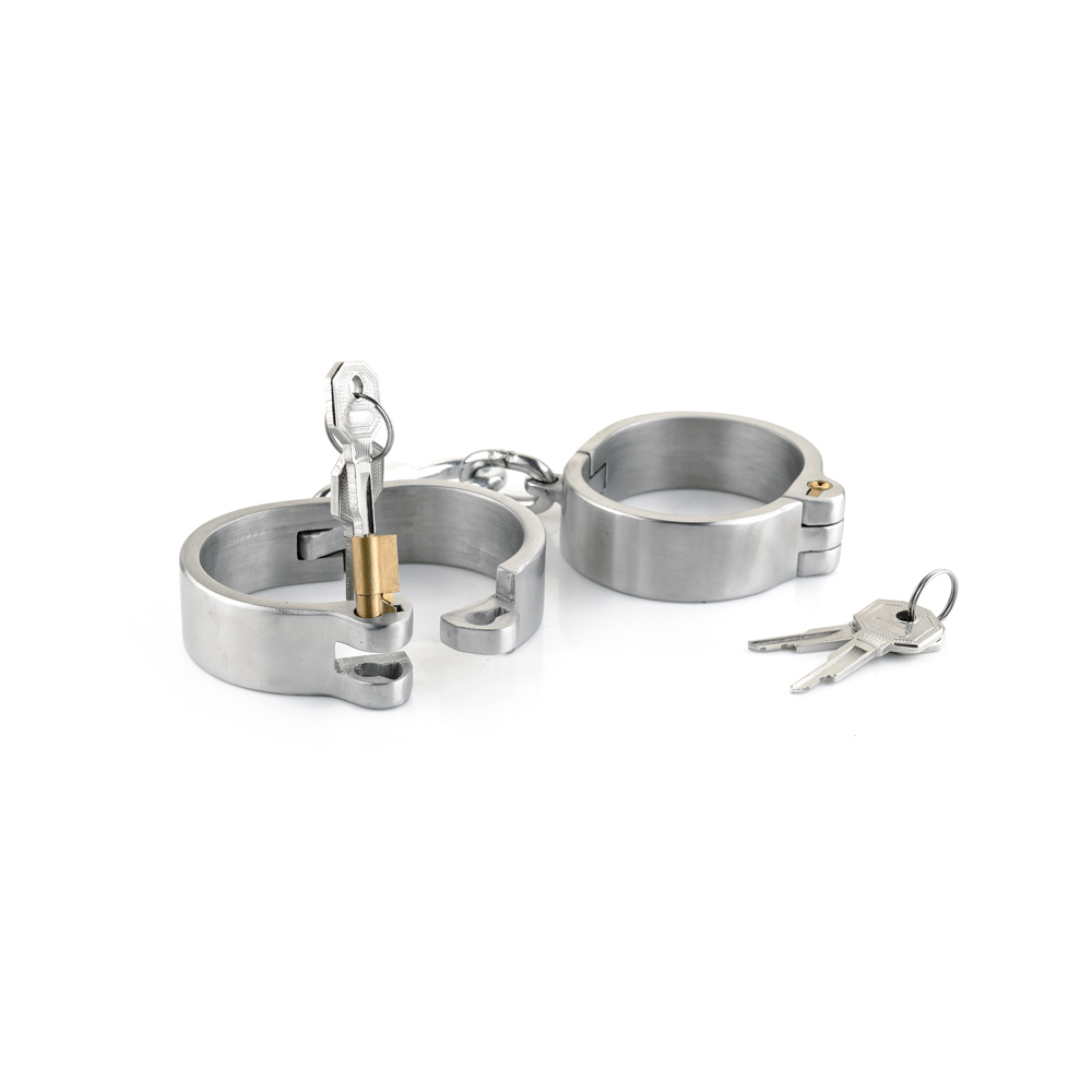 Stainless steel handcuffs for sex oval type bondage lock bdsm fetish wear hand cuffs bondage harness sex games sex products