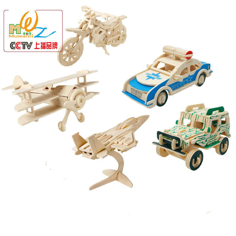kids wooden 3d jigsaw puzzle 5pcs police cars jeeps motorcycles plane model building kits or scale models