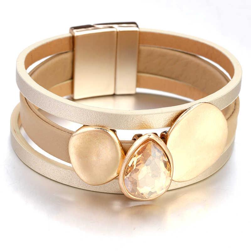 Amorcome Echt Lederen Armbanden Voor Vrouwen 2019 Bohemian Boho Crystal Metal Charm Multilayer Wide Wrap Armband Vrouwelijke Sieraden