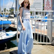 Original 2016 Brand Overalls Ladies Summer Plus Size Sleeveless Slim Waist Fashion Elegant Wide Leg Jumpsuits Women Wholesale