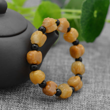 Natural Yellow Quartzite Stone Bracelet Hand-Carved Zodiac Pig Black Round Beads Bangles Gift for Women Stone Jades Jewelry