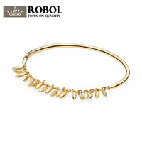 ROBOL 100% 925 Sterling Silver 567715CZ SHINE FLOATING GRAINS BANGLE Luxury Exquisite Charming Women Gift Original Copy Jewelry