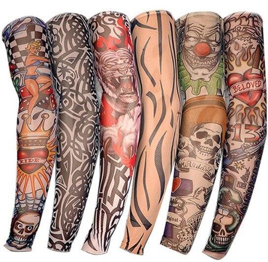 Braço mais quente unisex proteção uv de secagem rápida ao ar livre temporária falso correndo luva do braço pele proteive náilon tatuagem mangas meias