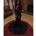 2016 Vestidos de Baile Lindo Sereia Preto Prom Vestidos Longos Lantejoula Mangas Compridas Com Decote Em V Vestidos Formais Festa À Noite
