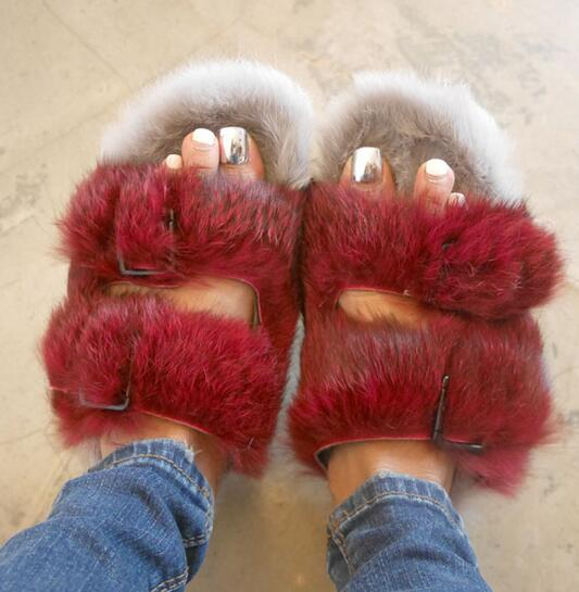 Fashion Rabbit Fur Women Slippers Winter Warm Gladiator Sandals Ladies Summer Flats Casual Shoes Woman Slides