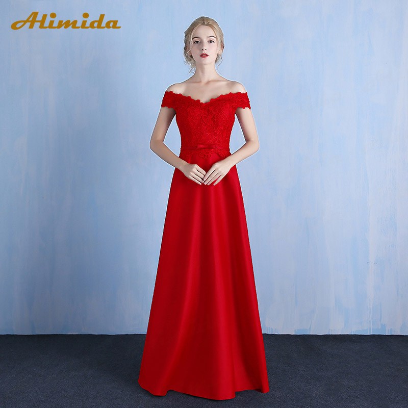 ALIMIDA Length Evening Dress 2018 Red Wine Banquet Prom Dresses Sexy Off  the Shoulder Formal Party Dress vestido de festa-in Evening Dresses from  Weddings ... 1e035a656ac8