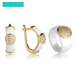 MECHOSEN Upscale Ceramic Jewelry Sets Earrings&rings CZ Zircon Crystal Round Anillos Copper Aretes Porcelain Fine Stone Schmuck