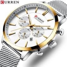 цены на Quartz Business Stainless Steel Watch Men Mesh Band Fashion  Clock Waterproof Sport Watches for Men Casual  CURREN Wristwatch  в интернет-магазинах