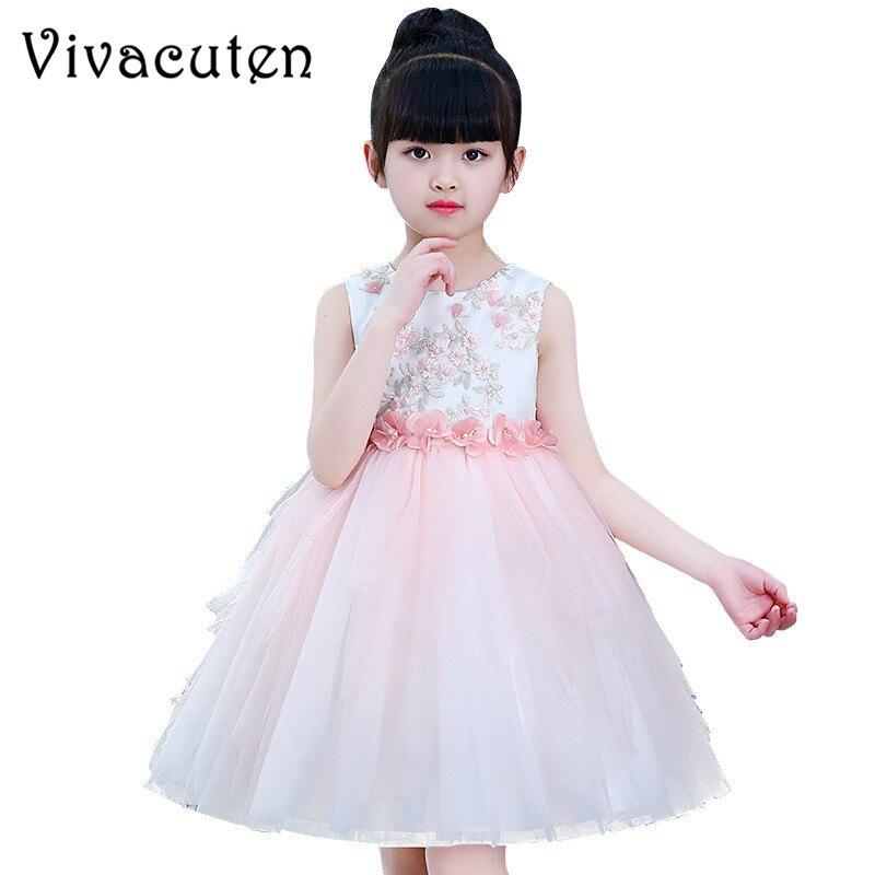 Summer Fashion Girls Dress Kids Dresses for Girls Flower Princess Dress Embroidery Unicorn Party Costume Wedding Host Dress F225