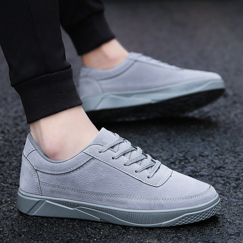 Fashion Flock Men Casual Shoes Solid Cross-tied Lace Up Sneakers Winter Breathable Non-leather Casual Shoes