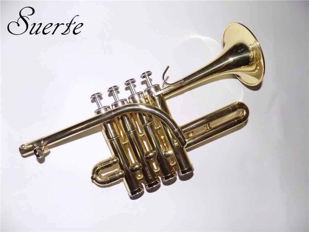 Bb Piccolo Trumpet hudební nástroje Žlutý mosazný lamelový povrch s pouzdrem a náušnicí