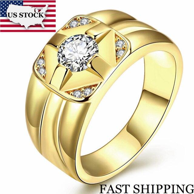 b9192c81e603 STOCK Uloveido anillos de boda para hombres Anel de oro Color de rosa anillo  de Zirconia
