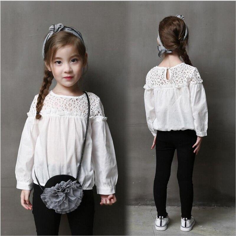 c9bb00ec0 Niñas blusa blanca 100% algodón Encaje escuela niña blusa para Niñas ...