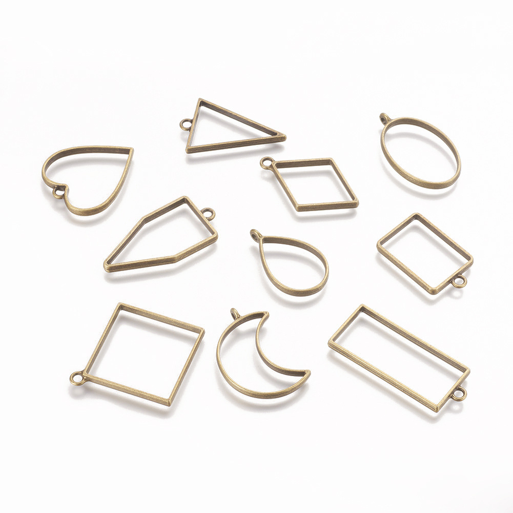 10pcs Metal Geometric Frame UV Epoxy Resin Mold Tools For DIY Jewelry Making Heart Oval Round Pendant Charms Setting Accessories