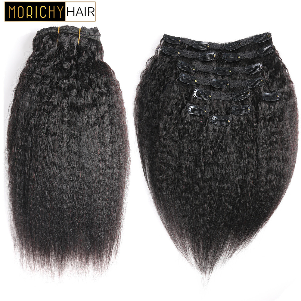 Morichy Brazilian Kinky Straight Clip Ins Human Hair Extensions Natural Color Non Remy Hair 10Pcs/Set Full Head  120G