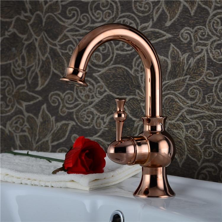 Free Shipping DONA4711 Solid brass golden basin faucet with 360 degree rotation rose gold bathroom basin mixer tap гальдос б dona perfecta донья перфекта