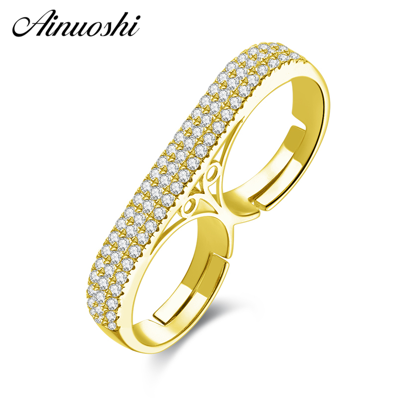 AINUOSHI 10K Solid Yellow Gold Double Finger Regulable band Ring Lady Engagement Anniversary Adjustable Ring Anniversary Jewelry solid au750 gold ring band lady s little finger ring cute ring