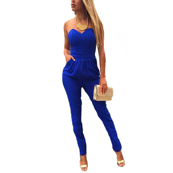 2XL Plus Size Hot Selling New Jumpsuits With Pocket Blue/Black/White Solid Color Off-The-Shoulder Sexy Womens Pants