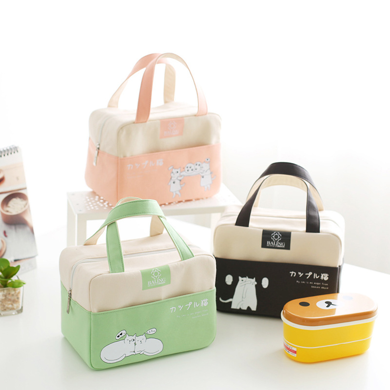 Canvas Lunch Bags Handbag Women Kid Picnic Bento Box Insulated Pack Drink Food Ice Cooler Thermal Leisure Accessories Supplies