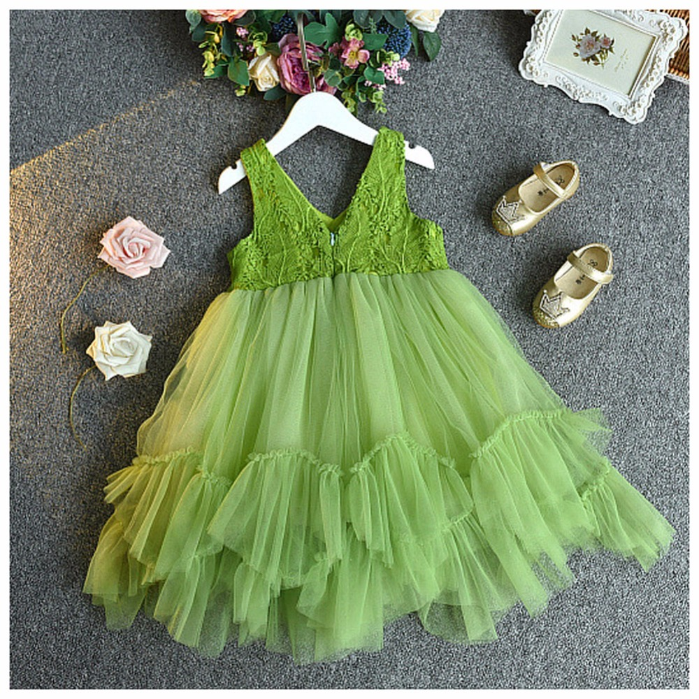 Cute Baby Dress Kids Party Wear Princess Costume For Girl Tutu Bebes Infant Birthday Green Dresses Girls Summer Clothing menin  summer baby girls party vest dress linen cotton ruffle tutu dress for girl kids 1st birthday princess dresses children clothing