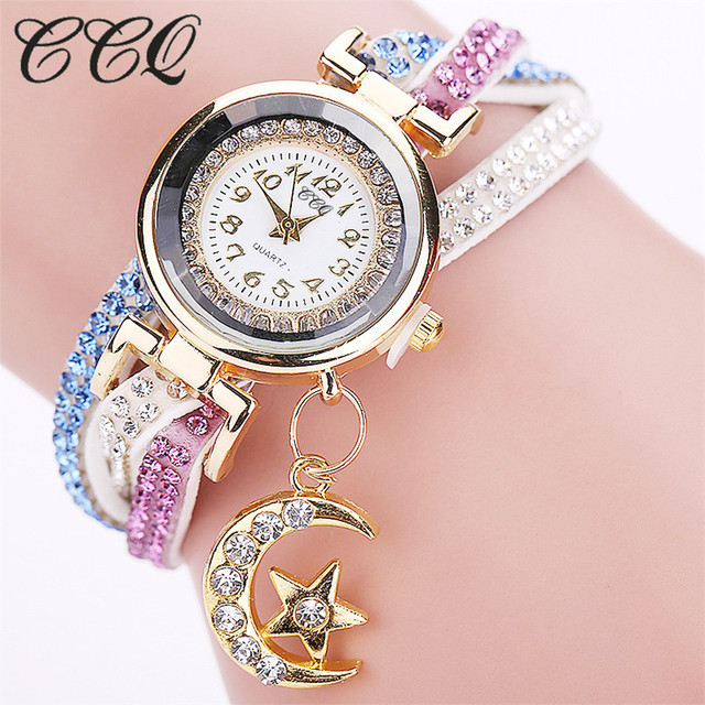 CCQ New Design Fashion Casual Analog Quartz Crystal Moon Pendant Women Leather B