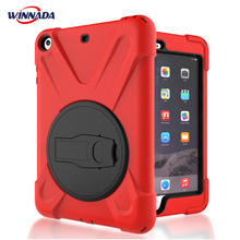 Case for iPad mini 1 2 3 hand-held Shock Proof full body cover Handle stand sleeve for ipad mini case capa funda silicone shock proof fall proof dust proof case w stand for ipad air 2 9 7 black