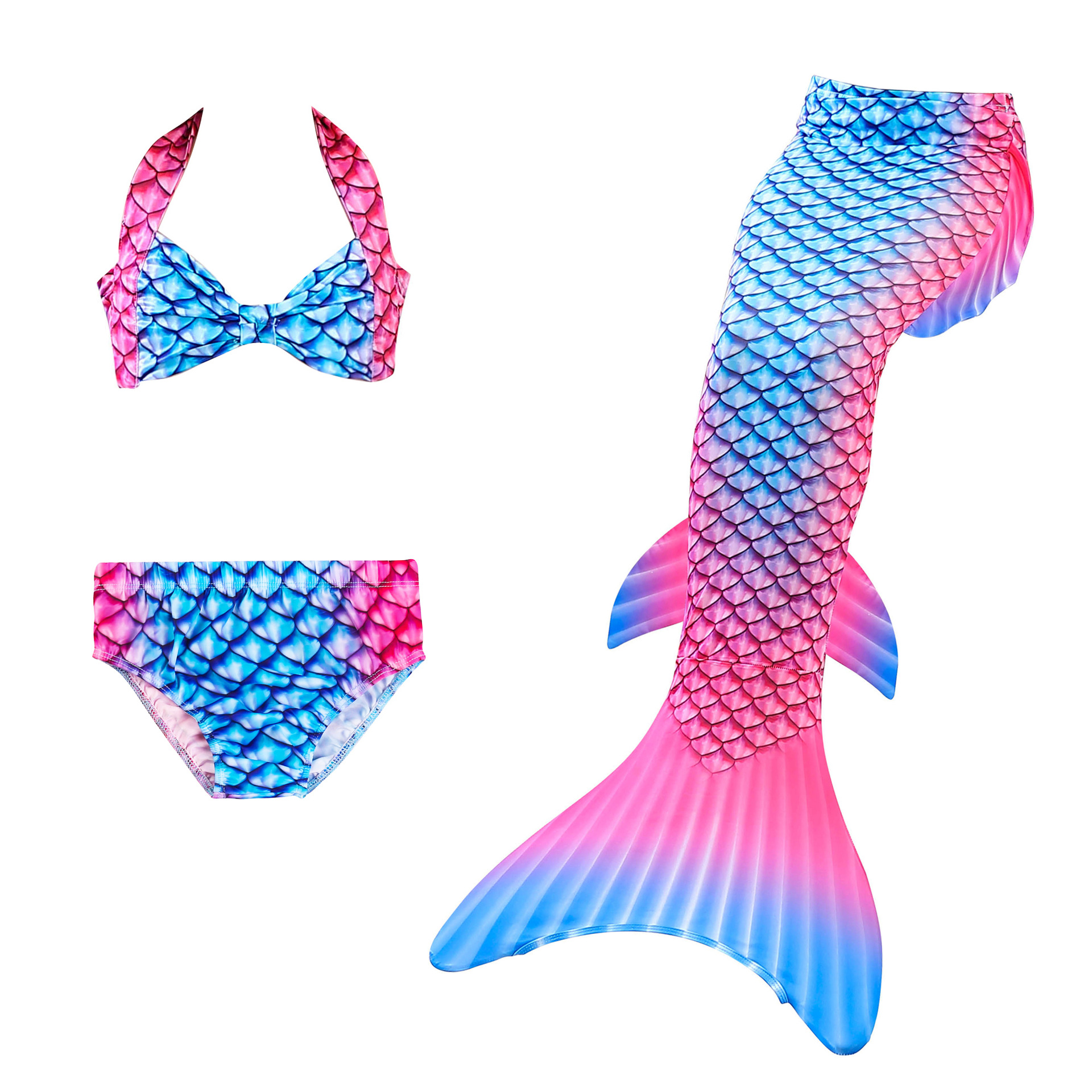 2019 New 3piece Bikinis Set Swimmable Children Mermaid Tails Girls Kids Girl Swimming Mermaid Tail Cosplay Costumes